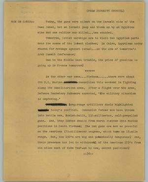 Primary view of object titled '[News Script: Folo Security Council]'.