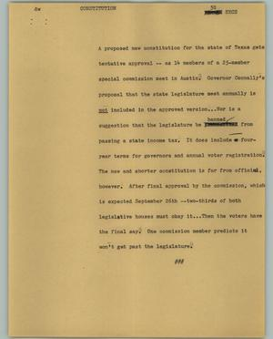 Primary view of object titled '[News Script: Constitution]'.