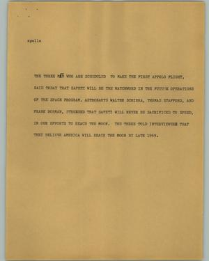 Primary view of object titled '[News Script: Apollo]'.
