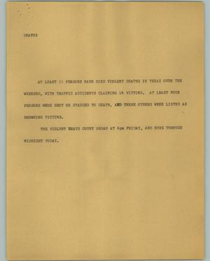Primary view of object titled '[News Script: Deaths]'.