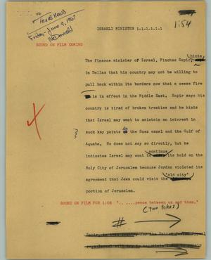 Primary view of object titled '[News Script: Israeli minister]'.