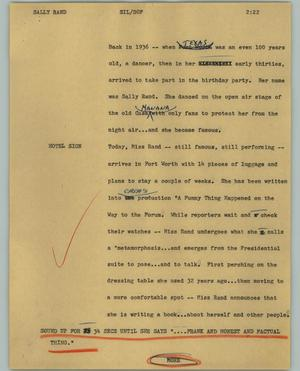 Primary view of object titled '[News Script: Sally Rand]'.