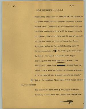 Primary view of object titled '[News Script: Naval Reservists]'.
