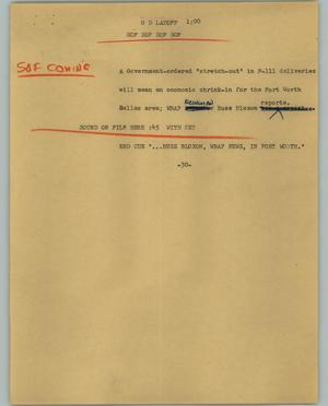 Primary view of object titled '[News Script: G D Layoff]'.