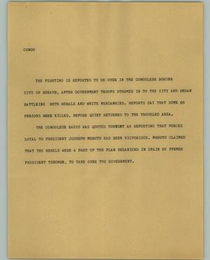 Primary view of object titled '[News Script: Congo]'.
