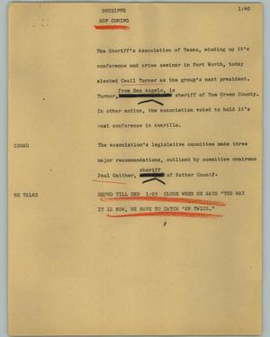 Primary view of object titled '[News Script: Sheriffs]'.