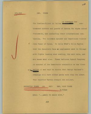 Primary view of object titled '[News Script: Sen. Tower]'.
