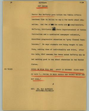 Primary view of object titled '[News Script: Rafferty]'.