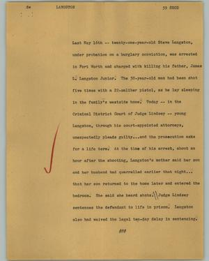 Primary view of object titled '[News Script: Langston]'.