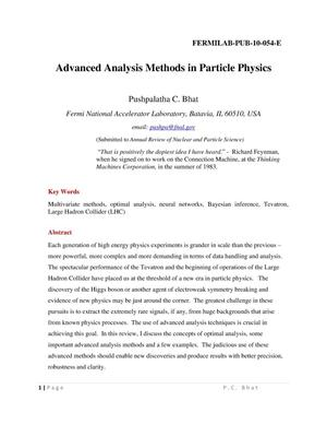 Primary view of object titled 'Advanced analysis methods in particle physics'.
