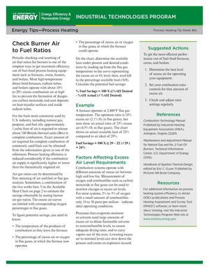 Primary view of object titled 'Check Burner Air to Fuel Ratios (International Fact Sheet), Energy Tips-Process Heating, Process Heating Tip Sheet #2c'.