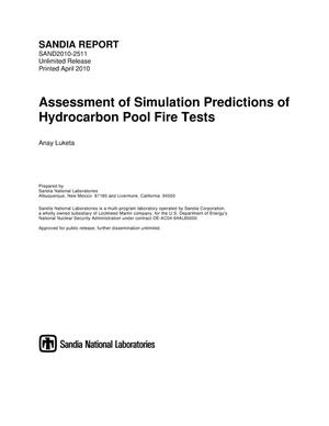 Primary view of object titled 'Assessment of simulation predictions of hydrocarbon pool fire tests.'.