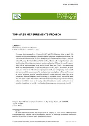 Primary view of object titled 'Top-mass measurements from D0'.