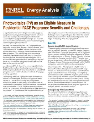 Primary view of object titled 'Photovoltaics (PV) as an Eligible Measure in Residential PACE Programs: Benefits and Challenges (Fact Sheet)'.