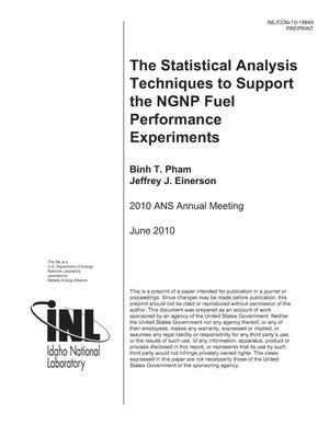 Primary view of object titled 'The Statistical Analysis Techniques to Support the NGNP Fuel Performance Experiments'.