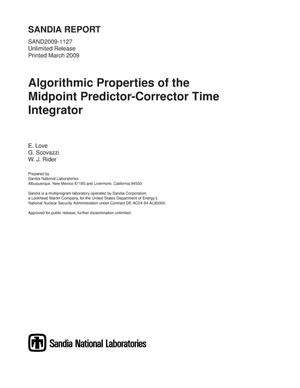 Primary view of object titled 'Algorithmic properties of the midpoint predictor-corrector time integrator.'.