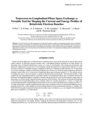 Primary view of object titled 'Transverse-to-longitudinal phase space exchange: a versatile tool for shaping the current and energy profiles of relativistic electron bunches'.