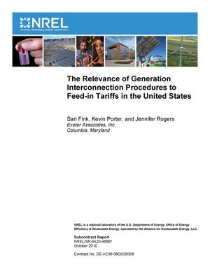 Primary view of object titled 'Relevance of Generation Interconnection Procedures to Feed-in Tariffs in the United States'.