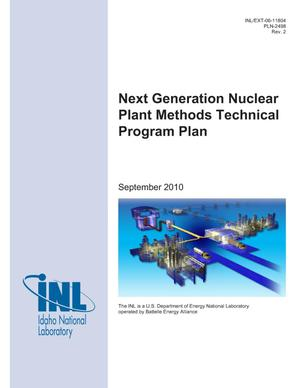 Primary view of object titled 'Next Generation Nuclear Plant Methods Technical Program Plan -- PLN-2498'.