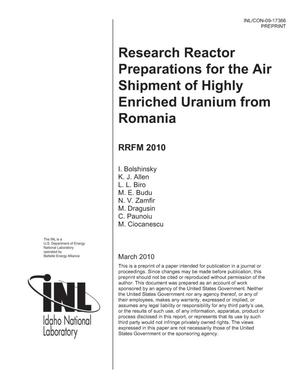 Primary view of object titled 'Research Reactor Preparations for the Air Shipment of Highly Enriched Uranium from Romania'.