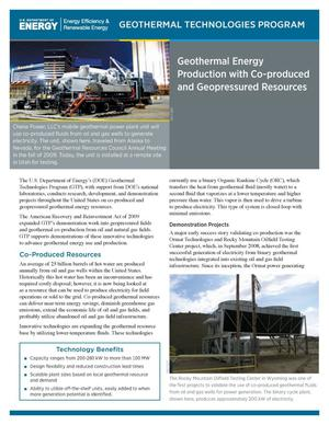 Primary view of object titled 'Geothermal Energy Production with Co-produced and Geopressured Resources (Fact Sheet)'.