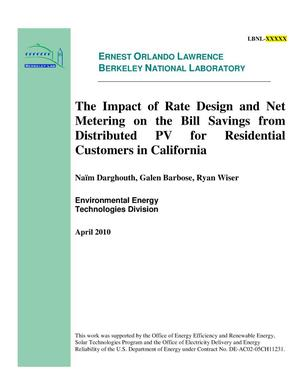 Primary view of object titled 'The Impact of Rate Design and Net Metering on the Bill Savings from Distributed PV for Residential Customers in California'.