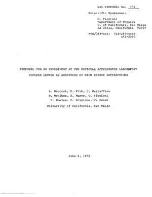 Primary view of object titled 'Proposal for an Experiment at the National Accelerator Laboratory Nuclear Levels as Analyzers of High Energy Interactions'.