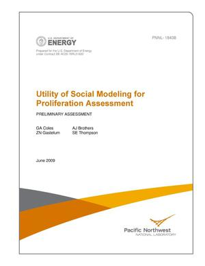 Primary view of object titled 'Utility of Social Modeling for Proliferation Assessment - Preliminary Assessment'.