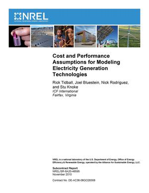 Primary view of object titled 'Cost and Performance Assumptions for Modeling Electricity Generation Technologies'.