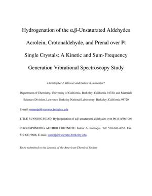 Primary view of object titled 'Hydrogenation of the alpha,beta-Unsaturated Aldehydes Acrolein, Crotonaldehyde, and Prenal over Pt Single Crystals: A Kinetic and Sum-Frequency Generation Vibrational Spectroscopy Study'.