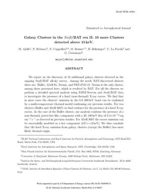 Primary view of object titled 'Galaxy Clusters in the Swift/BAT era II: 10 more Clusters detected above 15 keV'.