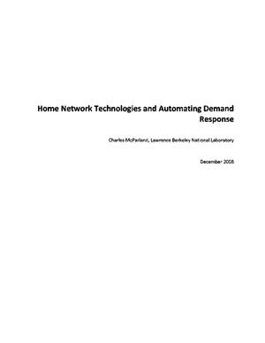 Primary view of object titled 'Home Network Technologies and Automating Demand Response'.