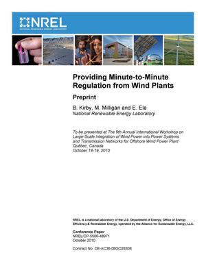 Primary view of object titled 'Providing Minute-to-Minute Regulation from Wind Plants: Preprint'.
