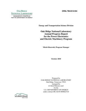 Primary view of object titled 'FY2010 Oak Ridge National Laboratory Annual Progress Report for the Power Electronics and Electric Machinery Program'.