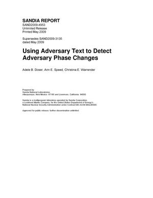 Primary view of object titled 'Using adversary text to detect adversary phase changes.'.