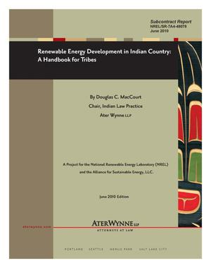 Primary view of object titled 'Renewable Energy Development in Indian Country: A Handbook for Tribes'.