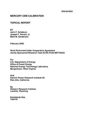 Primary view of Mercury CEM Calibration