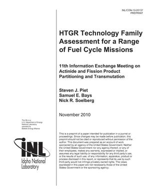 Primary view of object titled 'HTGR Technology Family Assessment for a Range of Fuel Cycle Missions'.