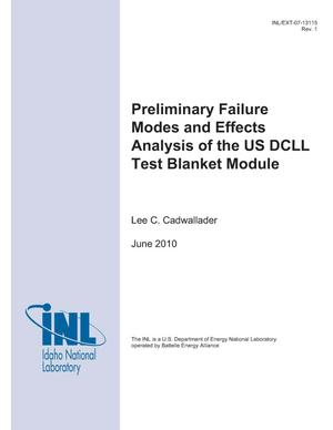 Primary view of object titled 'Preliminary Failure Modes and Effects Analysis of the US DCLL Test Blanket Module'.