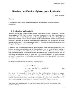 Primary view of object titled 'RF-driven modication of phase space distibution'.