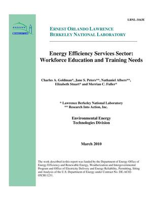Primary view of object titled 'Energy Efficiency Services Sector: Workforce Education and Training Needs'.