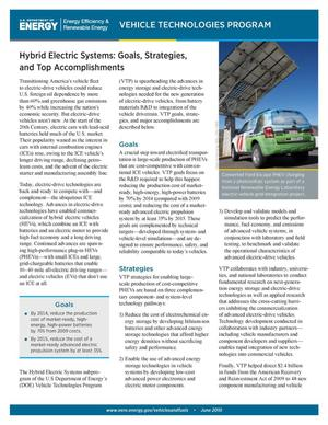 Primary view of object titled 'Hybrid Electric Systems: Goals, Strategies, and Top Accomplishments (Brochure)'.