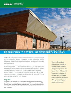Primary view of object titled 'Rebuilding It Better: Greensburg, Kansas, City Hall (Brochure)'.