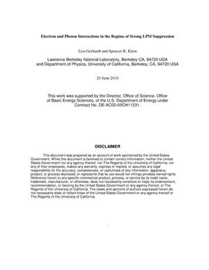 Primary view of object titled 'Electron and Photon Interactions in the Regime of Strong LPM Suppression'.
