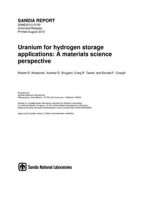 Primary view of object titled 'Uranium for hydrogen storage applications : a materials science perspective.'.