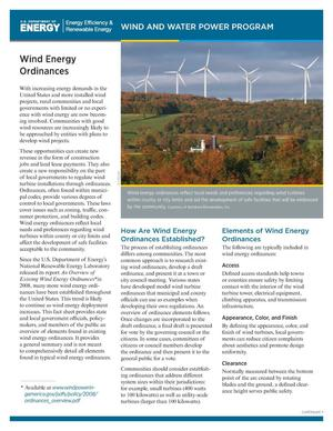 Primary view of object titled 'Wind Energy Ordinances (Fact Sheet)'.