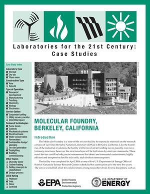Primary view of object titled 'Laboratories for the 21st Century: Case Studies, Molecular Foundry, Berkeley, California'.