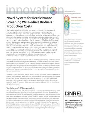 Primary view of object titled 'Novel System for Recalcitrance Screening Will Reduce Biofuels Production Costs; The Spectrum of Clean Energy Innovation (Fact Sheet)'.