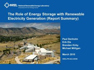 Primary view of object titled 'Role of Energy Storage with Renewable Electricity Generation (Report Summary) (Presentation)'.