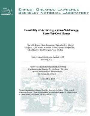 Primary view of object titled 'Feasibility of Achieving a Zero-Net-Energy, Zero-Net-Cost Homes'.